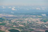 stock photo of polonia  - Aerial view on field and meadows near Warsaw Poland - JPG