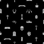 stock photo of hearse  - funeral icons black and white seamless pattern eps10 - JPG