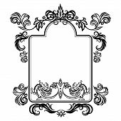 picture of gargoyles  - Vector illustration frame with floral ornament and gargoyles on a white background - JPG
