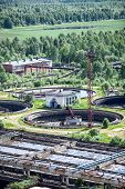 picture of sewage  - Industrial tanks with sewage treatment basins - JPG