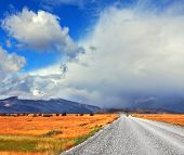 stock photo of pampa  - Strong wind drives the clouds - JPG