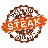 picture of hamburger-steak  - Steak grungy stamp isolated on white background - JPG