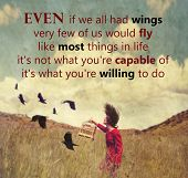 picture of surrealism  -  a girl walking in a field with a flock of birds with an original quote  - JPG