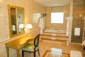stock photo of shower-cubicle  - Bathroom in luxury hotel Dubai United Arab Emirates - JPG