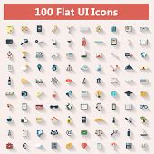 picture of e-business  - Set of modern icons in flat design with long shadows and trendy colors for banners - JPG