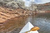 stock photo of horsetooth reservoir  - springtime canoe paddling  - JPG