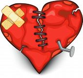 stock photo of broken hearted  - Big red broken dappled heart with different details on white background - JPG