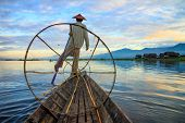 picture of shan  - Fishermen in Inle Lake at sunrise Inle Shan State Myanmar - JPG