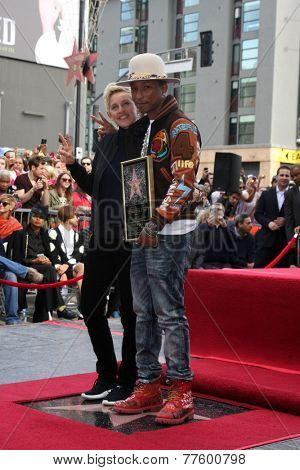 LOS ANGELES - DEC 4:  Ellen DeGeneres, Pharrell Williams at the Pharrell Williams Hollywood Walk of Fame Star Ceremony at the W Hotel Hollywood on December 4, 2014 in Los Angeles, CA