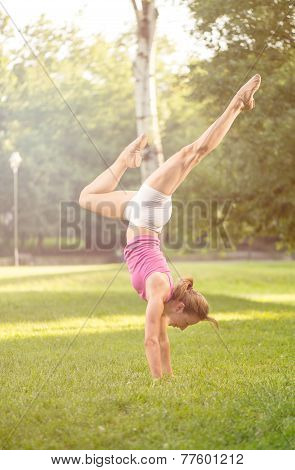 Handstand  Exercise On Grass