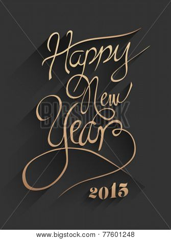 Digitally generated Happy new year vector in embossed black and gold
