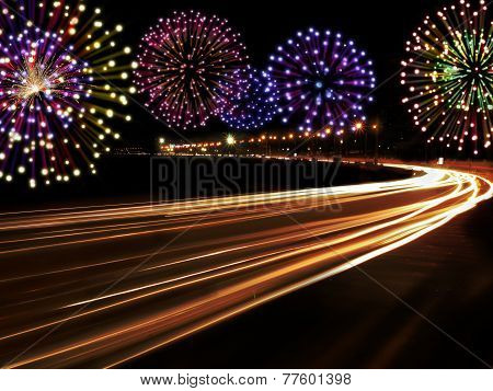 Happy New Year Fireworks City Cars Highway