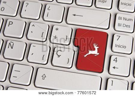 Vintage Christmas Concept, Reindeer Keyboard Key.