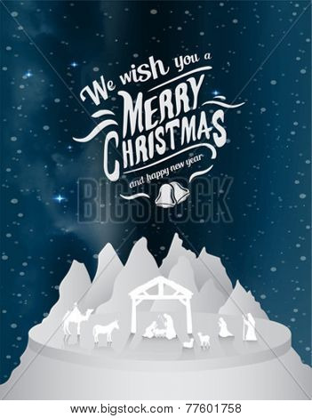 Digitally generated Christmas vector with nativity scene