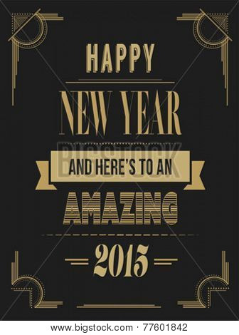 Digitally generated Happy new year vector in art deco style