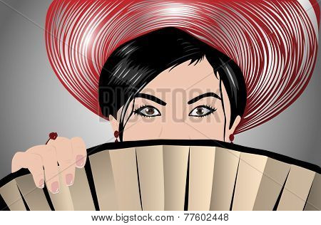 Young japanese woman with fan portrait. EPS 10 format.