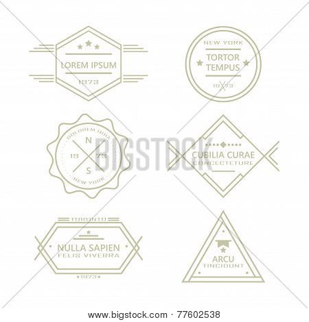 Assorted line vintage retro badges and labels collection