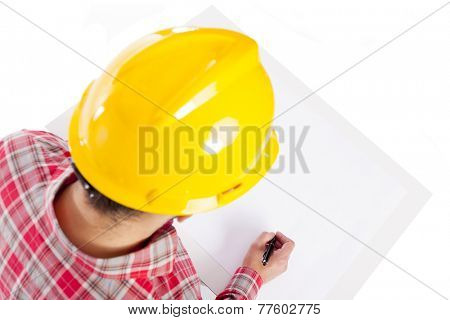 Image of an engineer sketching a plan, isolated on white background