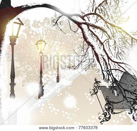 Christmas Outdoor Scenery With Snow, Street, Lamps And Park Bench