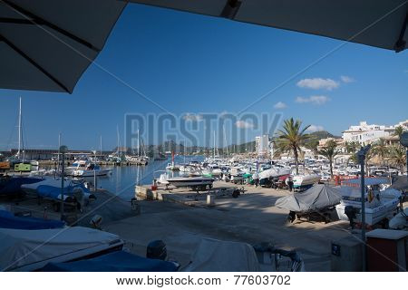 Catamaran in Cala Ratjada harbor