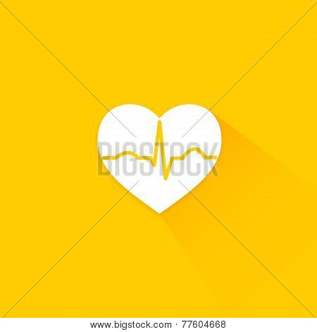 Yellow flat long shadow cardiology icon