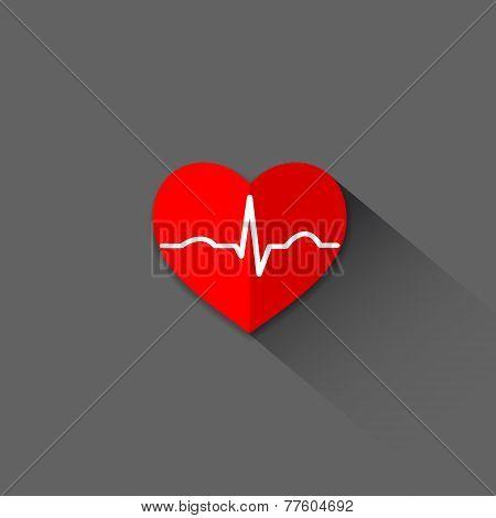 Flat trendy heart beat icon