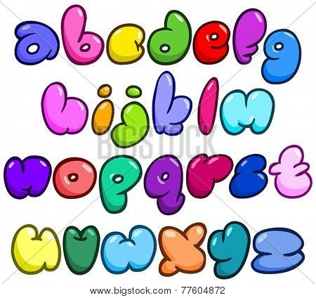 Comic bubble shaped lower case alphabet set