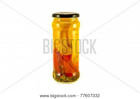 Slices Potted Preserved Peppers In Glass Jar Isolated On White