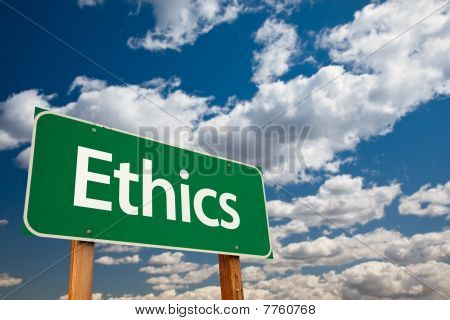 Ethics Green Road Sign