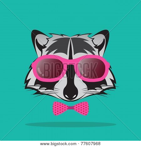 Vector Images Of Raccoon And Glasses On Blue Background.