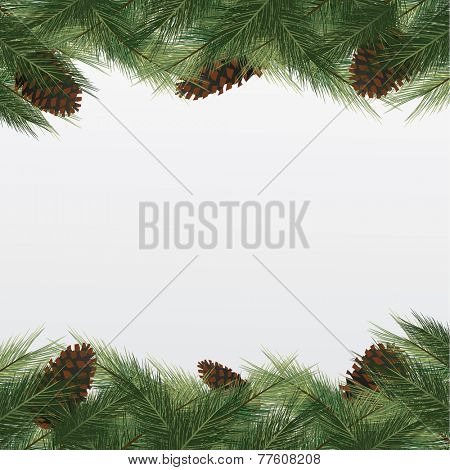 christmas background with christmas tree. frame with green fir and bumps