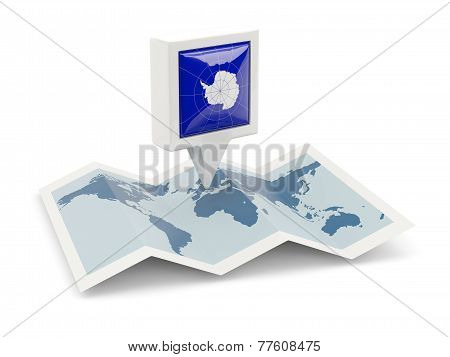 Square Pin With Flag Of Antarctica On The Map