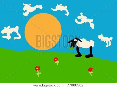 Child drawing of a sheep on the lawn