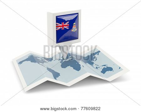 Square Pin With Flag Of Cayman Islands On The Map