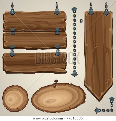 Wooden boards with chain. Vector illustration.