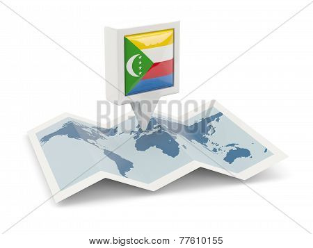 Square Pin With Flag Of Comoros On The Map