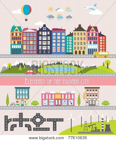 Different City Elements For Creating Your Own Map