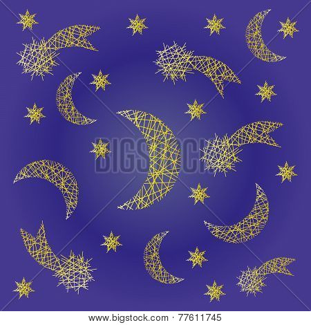 Vector Blue Night Festive Pattern Background With Irregular Yellow Sketchy Comet, Moon And Star