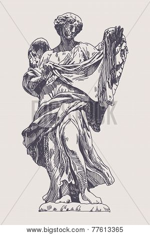 ink drawing marble statue of angel