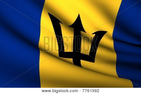 Flying Flag Of Barbados | All Countries Collection |