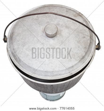 Top View Of Camping Sooty Pot On Gas Burner