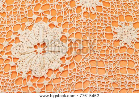 Decoration By Maltese Bobbin Lace Close Up
