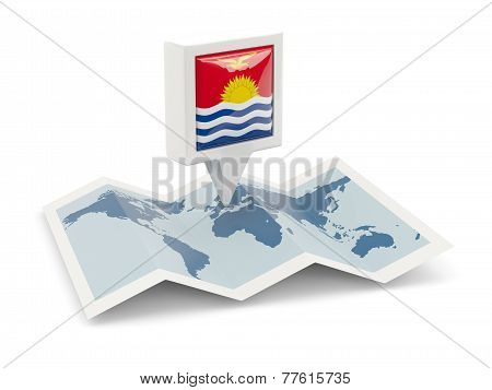 Square Pin With Flag Of Kiribati On The Map