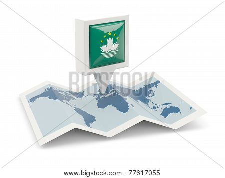 Square Pin With Flag Of Macao On The Map