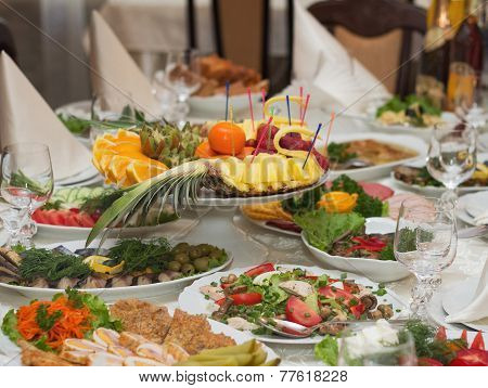 Beautifully Banquet Table With Food