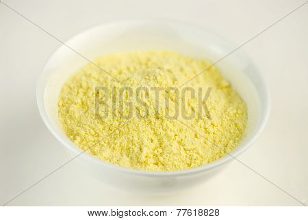 Maize Corn Flour In White Bowl