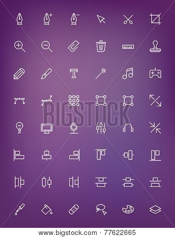 Thin Line Design Tools Icons Set For Web And Mobile Apps. White Icons On The Blurred Purple Backgrou