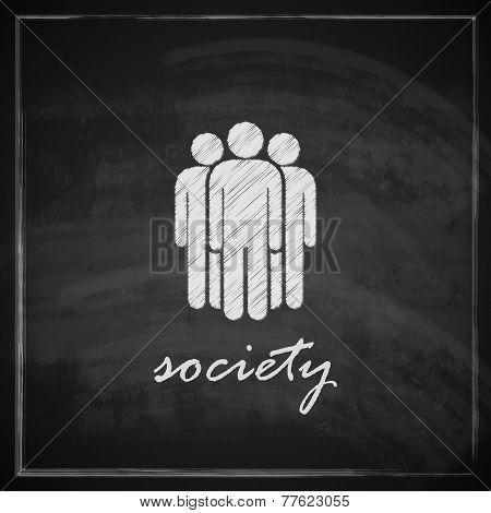 vintage illustration with society symbol on blackboard background