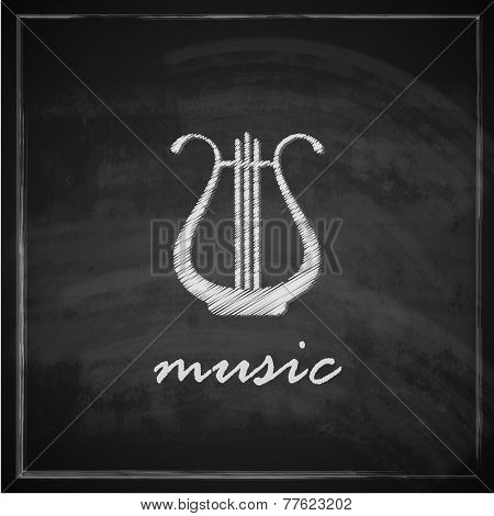 vintage illustration with the harp on blackboard background. music illustration