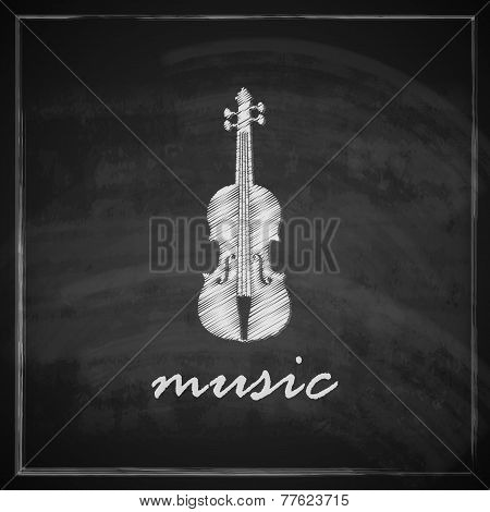 vintage illustration with the violin on blackboard background. music illustration